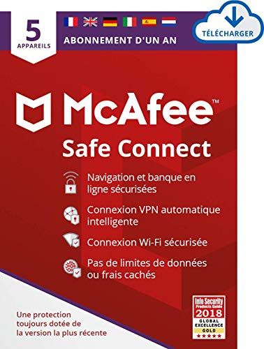 McAfee | SafeConnect - VPN | 5 appareil | 1 Usager | 12 Mois | PC/Mac | Code d'activation - envoi par email