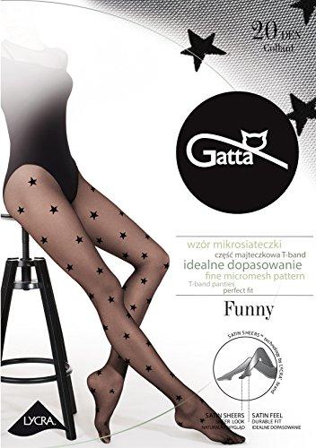 Gatta Damen Feinstrumpfhose mit Muster 20den (429-06) - Damen Strumpfhose mit Sternen Muster gepunktet schwarz - Größe 4-L - Nero