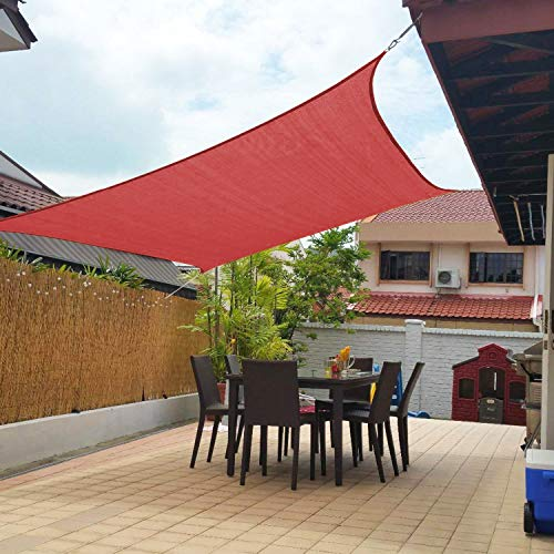 Artpuch 10'x13' Sun Shade Sails Canopy Rectangle Rust Red, 185GSM Shade Sail UV Block for Patio Garden Outdoor Facility and Activities