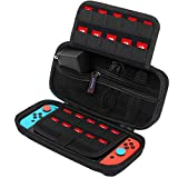 Carrying Case for Nintendo Switch, SPERVS Portable Carry Cases & Storage with 20 Game Cartridges Hard Shell Pouch for Nintendo Switch Console & Accessories , Switch Travel Case( Black)