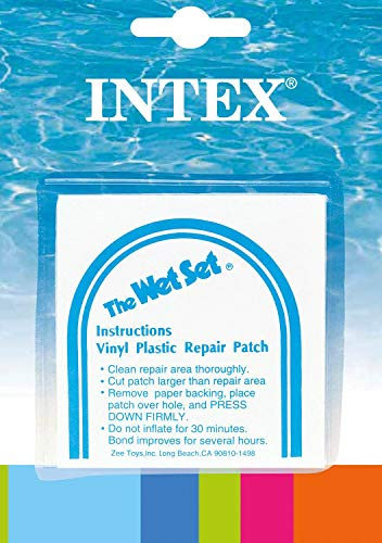 INTEX Wet Set Adhesive Vinyl Plastic Swimming Pool Tube Repair Patch 24 Pack Kit
