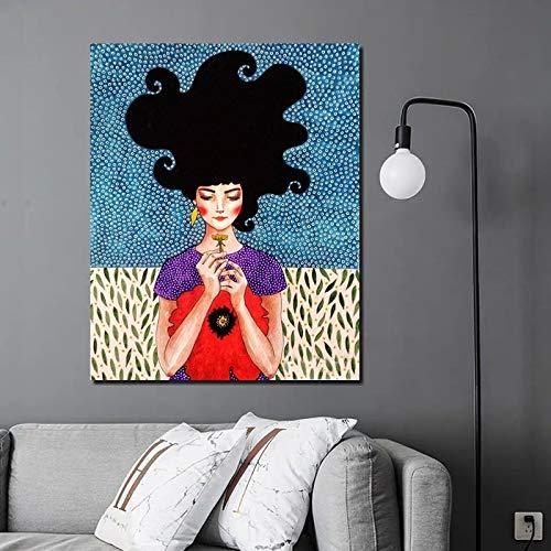 KWzEQ Cartel Retro Mirando Flores niña Lienzo Pintura Cartel impresión Pared Arte Pintura Moderna decoración del hogar,Pintura sin Marco,40x50cm