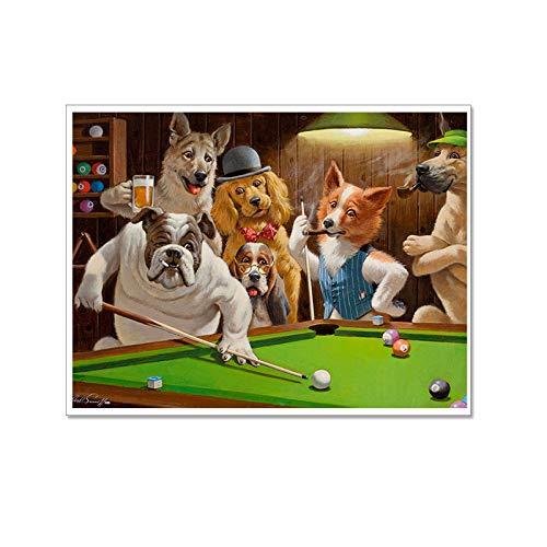 Leinwand Bild,Tier Hund Fox Spielen Billard, Poster Und Drucke Modulare Wand Bild, Home Decor Einfache Kunst Wandbilder Bild Foto Ausdrucken Wand Für Wohnzimmer, Schlafzimmer, Hotel, Speisesaal, Caf