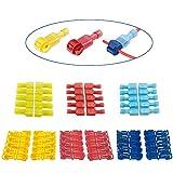 Greluma Connettori a T da 60 pezzi Connettori a giunzione rapida per cavi Terminali a crimpare per cavi elettrici Self-Stripping con kit di disconnessioni maschio isolato,rosso-20,blu-20,giallo-20