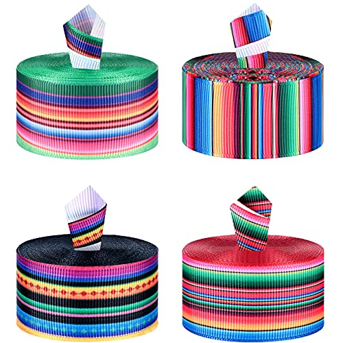 4 Pieces Fiesta Mexican Serape Ribbon Rainbow Stripes Ribbon Double Sided Grosgrain Ribbon Colorful Fiesta Ribbon Roll for Present Wrapping, DIY Craft Sewing Supplies, Party Decoration