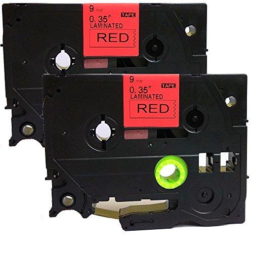 Neouza 2PK compatibile per Brother P-Touch Laminated TZe TZ Label tape Cartridge 9mm x 8m TZe-421 Black on Red