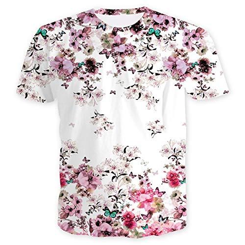 XIAOBAOZITXU 3D Digitaldruck T-Shirt Kurze Ärmel Rundhalsausschnitt Blumen Sommerkleidung Für Männer Und Frauen Lose Mode Große Größe T-Shirt L