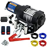 4500-lb Waterproof Winch Electric Winch Kit, Synthetic Rope Waterproof IP67 Electric Winch with Hawse Fairlead, with Both Wireless Handheld Remote, for Towing ATV UTV