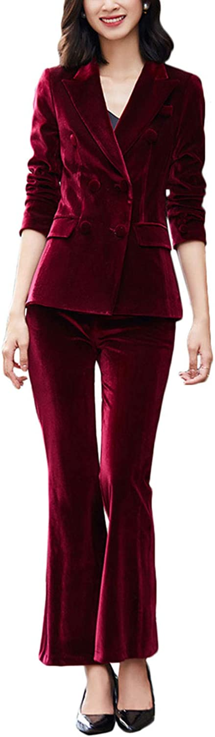 Wemaliyzd Womens 2 Piece Velvet Blazer Dress Pants Double Breasted Outfits