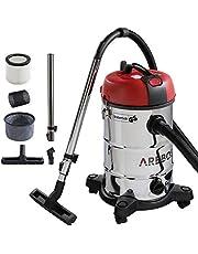 Arebos Industriële stofzuiger voor natte en droge reiniging | ook als aszuiger inzetbaar | 4-in-1 zuiger | vermogen 1800 W | volume 30 l | hoogwaardig roestvrij staal | bereik 8 m
