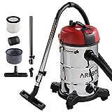 Arebos - Aspirapolvere industriale per pulizia a umido e a secco | utilizzabile anche come aspiracenere | 4 in 1 | potenza 1800 W | volume 30 l | acciaio inox di alta qualità | portata 8 m
