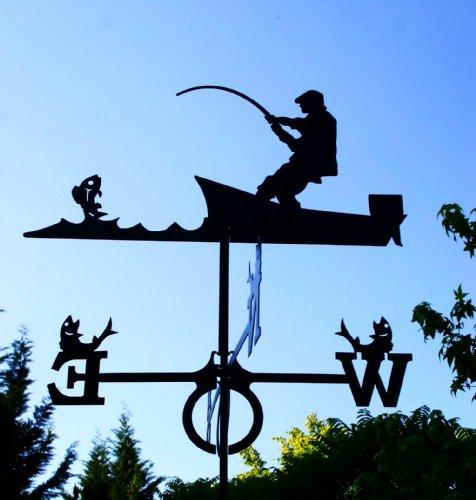 Svenska Windspiel Wetterfahne Angler groß Windfahne aus Stahl schwarz 89cm