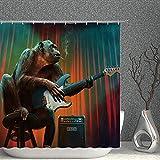 SKYHY224 Duschvorhang Lustige Tier Dekor Duschvorhang Rauchen Gorilla Spielen E-Gitarre Musik Liebhaber Nette Wildtiergewebe Badezimmer Gardinen, 70x70 Zoll Wasserdichter Polyester mit Haken