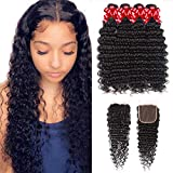 Brazilian Virgin Hair Deep Wave Bundles with Closure Deep Curly Hair 100% Unprocessed Human Hair 3 Bundles with 4x4 Lace...