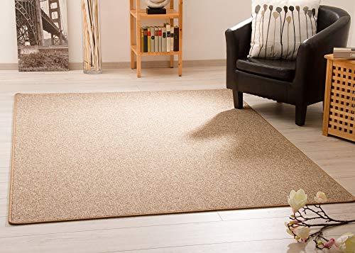 Steffensmeier Teppich Meddon XL   Robuste Schlinge für Esszimmer Küche Flur Hobbyraum Büro in Sand, GUT Siegel, Größe: 300x400 cm