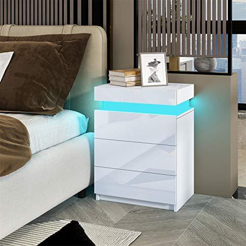 Senvoziii RGB LED Nachttisch Kommode Hochglanz mit 3 Schubladen Nachtschrank Beistelltisch für Schlafzimmer Wohnzimmer Wohnmöbel - Weiß