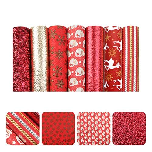 MILISTEN 7 Stück Frohe Weihnachten Kunstleder Blatt sortiert Kunstleder Stoff 7,9 x 13,4 (20 cm x 34 cm) für Haarschleifen, Stirnbänder machen Festival handgemachte...