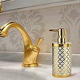 Shop Chic Dispenser Sapone Bagno Oro Lucido portasapone Liquido Ricaricabile di Lusso Design Barocco
