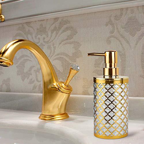 Shop Chic Seifenspender für Badezimmer, Gold, glänzend, nachfüllbar, Luxus-Design Barock