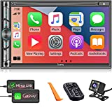 Double DIN CarPlay Multimedia Player, 7' HD Capacitive Touchscreen, Car Stereo with Backup Camera, Bluetooth, 16-Band EQ, Steering Wheel Controls, Mirror-Link, USB/SD Port, AM/FM Car Radio Receiver