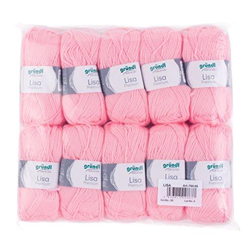 Gründl Lisa Premium Wolle, Polyacryl, babyrosa, 133 m, Nadelstärke 3,5- 4,5, 10er Pack