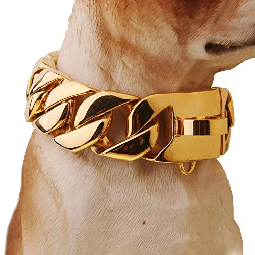 Gulunmun 32 mm Exagerado Extra-Grueso Acero Inoxidable 316L Oro Cubano Grande Mascota Collar de Cadena de Perro Collares Pitbull Gargantilla Oro 40 cm