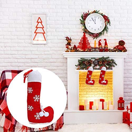 smilerr Personalisiert Stickerei Weihnachtsstrumpf Deko Kamin Christmas Stocking Nikolausstiefel zum befüllen und aufhängen groß Ideale Weihnachtsdekoration- Rot Like-Minded