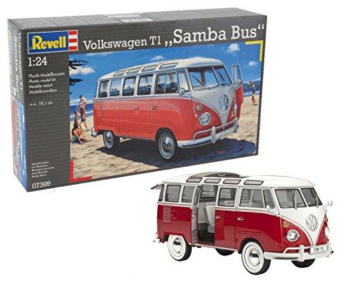 Revell Modellbausatz Auto 1:24 - Volkswagen VW T1 Bulli Samba Bus  im Maßstab 1:24, Level 5, originalgetreue Nachbildung mit vielen Details, VW Bus, 07399