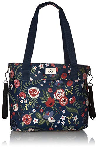 JuJuBe Encore Travel Diaper Tote Bag | Classic Collection | Lightweight, Everyday with Diaper Changing Pad | Midnight Posy, One Size