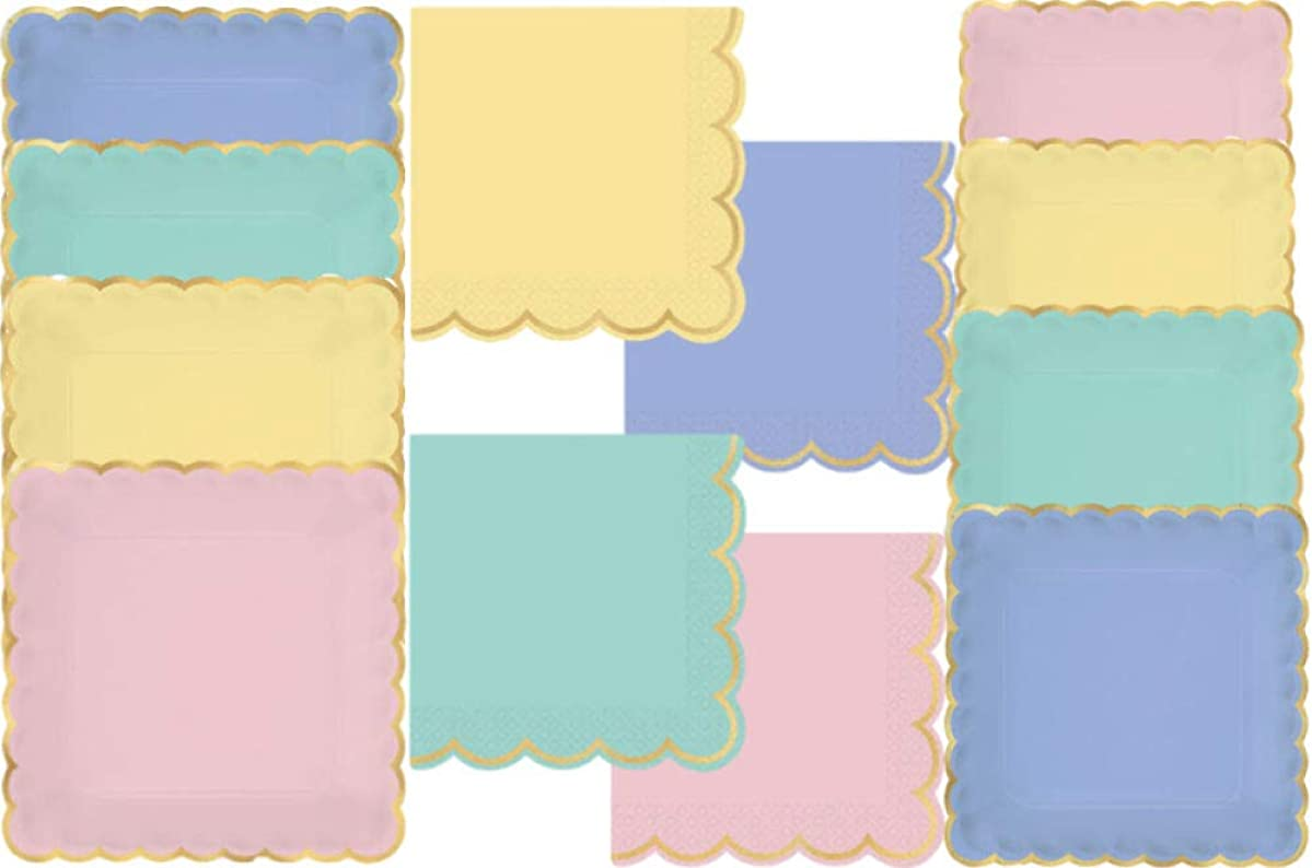 Pastel Party Supply Pack! Bundle Includes Paper Plates & Napkins for 8 Guests in Assorted Pastels with Gold Foil Scallop Edging
