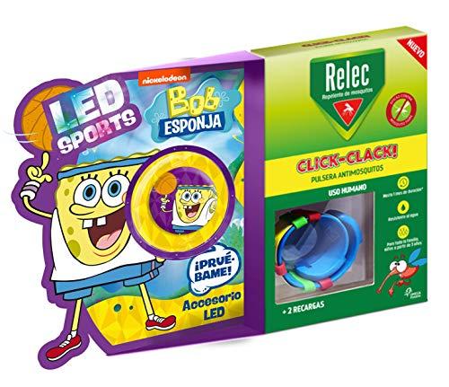 Relec Relec Pulsera Antimosquitos Bob Esponja Basquet   Eficaz Contra El Mosquito Tigre. Resistente Al Agua   Contiene 2 Recargas   Duración 2 Meses 150 g