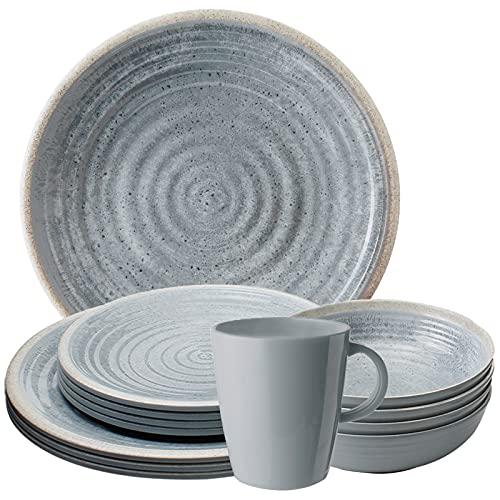 Camping Melamin-Geschirr Set 16-teilig Teller & Kaffee-Tassen - Unzerbrechlich für Wohnmobil, Wohnwagen, Bulli & Camper - Spülmaschinenfest & Kompakt - Retro, Boho | SUNDREAM Mirage