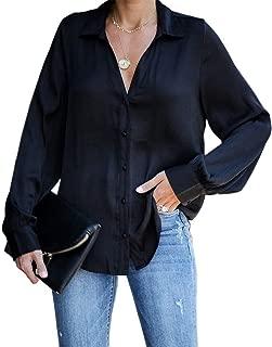 Ivay Womens Long Sleeve Button Down Shirts V Neck Fall Fashion Loose Plain Tunic Tops