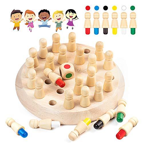 Diealles Shine Ajedrez de Memoria, Ajedrez de Palo de Memoria de Madera, DiversióN Bloque Juego de Mesa Juguete Educational Parent-Child Leisure Fun Toy