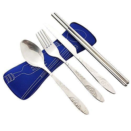 4 Stück Edelstahl (Messer, Gabel, Löffel, Stäbchen), Reise- / Camping-Besteck-Set mit Neopren-Etui (Dunkelblau)