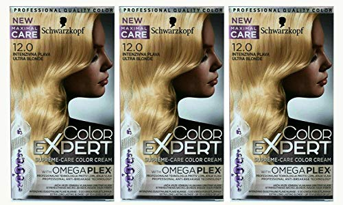 3x Schwarzkopf Color Expert Intensiv-Pflege Color-Creme 12.0 Eisblond, 3er Pack