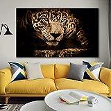 Cuadro de lienzo de pared Animales de gran tamaño Impresión de lienzo Cheetah Imagen HD para sala de estar Arte de pared en blanco y negro 70x100cm Sin marco