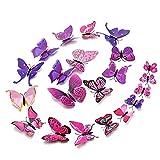 48 piezas Calcomanía de pared Deco de mariposas 3D con imán,pegatina en colores pastel...