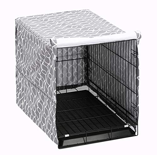 "Dog Crate Cover for Wire Crates, Fits Most 48"" inch Dog Crates. Easy to Put On, Take Off, and Adjust - Cover only-Gray -XXL Basic Crates"