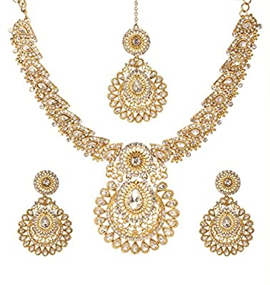 Bindhani Women's Indian Style Jewelry Bridal Wedding Crafted Brides Fashion Gold Plated Austrian Crystal Rhinestone Necklace Earrings Tikka Bollywood Party Wear Jewellery Tika Set for Bridemaids