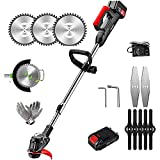 21V Portable Electric Brushcutter Automatic Trimmer,with 10 Blades,90~120 cm Adjustable...