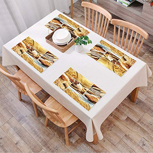 Set de Table Antidérapant Lavable Résiste à la Chaleur Rectangulaire Sets de Table pour Restaurant,Récolte, différentes étapes de la fab,Table à Manger en Cuisine ou Salle à Manger, 45x30 cm Lot de 4