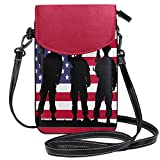 iRoad - Mini bolso de mano con bandera, diseño de soldado, bandera americana, con correa para el hombro, bolso bandolera para teléfono móvil, monedero, para mujeres y niñas