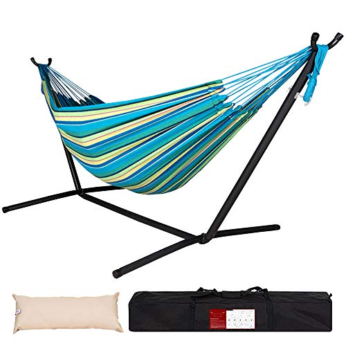 Lazy Daze Hammocks Double Hammock with Space Saving Steel Stand Includes Portable...
