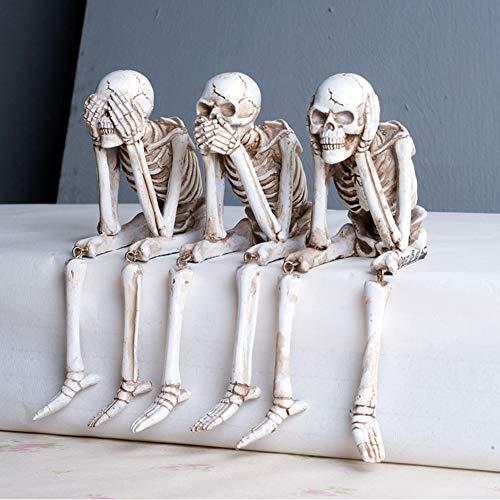 YB&GQ Decoración De Halloween Escritorio Ornamentos Cementerio Escultura,No Ver El Mal Hear No Evil Speak No Evil Cráneos Estatuas,Gótico Esqueletos Figurines