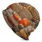 AEMAPE Bonnet tricoté Orange citrouilles et meules de Foin pour Homme Adulte Bonnet - Bonnet Unisexe Chapeaux, Casquette tête de Mort, Cagoule, Demi Cagoule