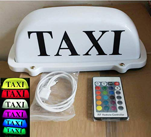 10.5'' Taxi Cab Top Sign Car Driver Roof Light Remote 7-Color Change USB...