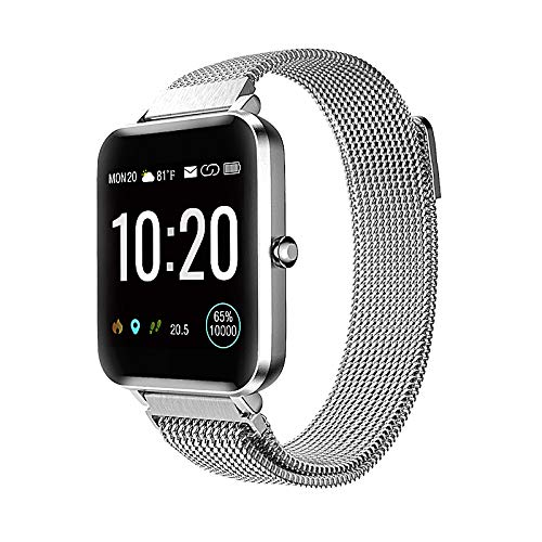 Tinwoo Smart Watch 2020 Ver for Women Men GPS Smartwatch AllDay Activity Fitness Tracker Bluetooth for iOS Android Phone with Heart Rate Monitor 5ATM Waterproof Metal Band Silver