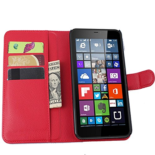 Ycloud Tasche für Nokia Microsoft Lumia 640 XL Dual-SIM Hülle, PU Ledertasche Flip Cover Wallet Case Handyhülle mit Stand Function Credit Card Slots Bookstyle Purse Design rote