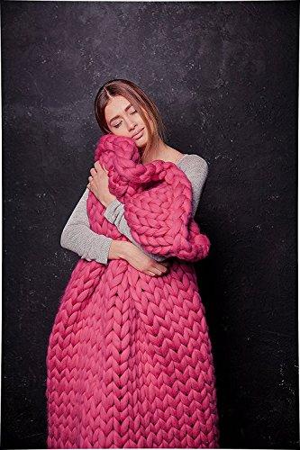 ERLYEEN Chunky Knit Blanket Merino Wool Hand Made Throw Boho Bedroom Home Decor Giant Yarn,Rose...